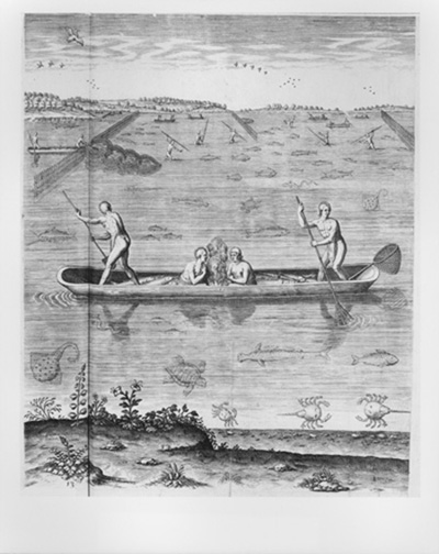 white watercolorde bry engraving indians fishing