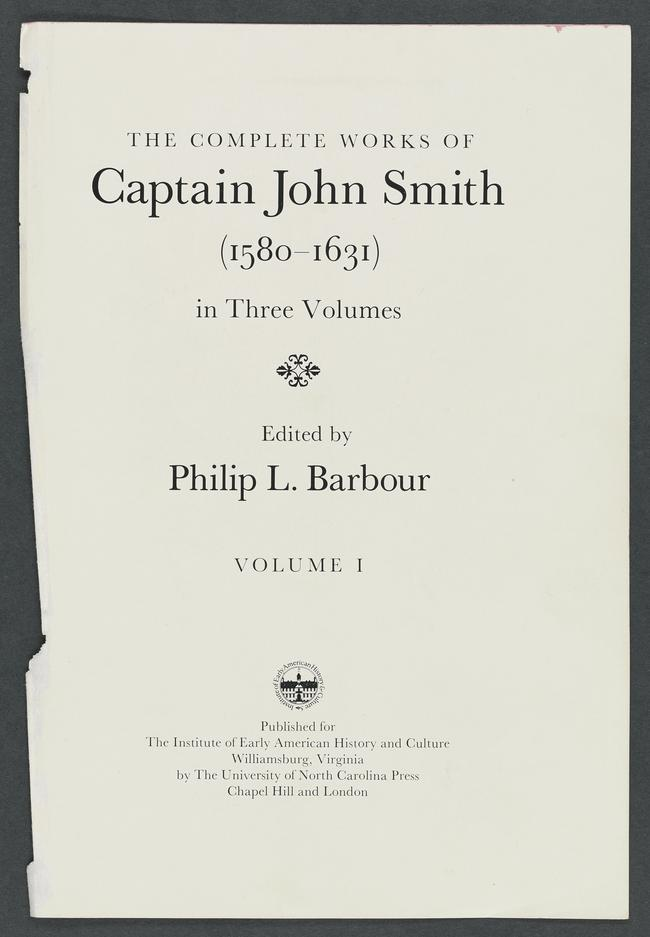 The Complete Works Of Captain John Smith Vol 1 The Complete Works