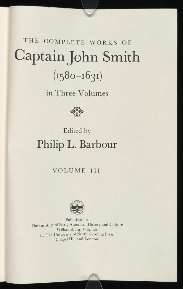 The Complete Works Of Captain John Smith Vol 3 The Complete Works